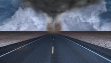 Tornado Funnel In Desert Road ...