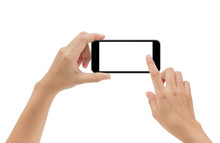 Hand Holding Phone Mobile And Touching Screen Isolated On White