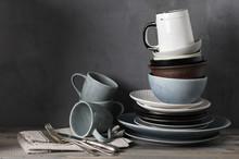 Various Crockery On Kitchen Table