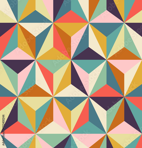 seamless geometric retro pattern Wallpaper Mural