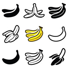 Banana Icon Collection - Vector Outline And Silhouette