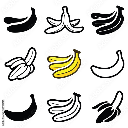 Fotografie, Tablou  Banana icon collection - vector outline and silhouette