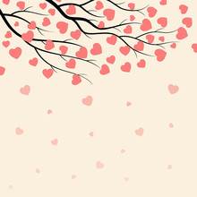 Branches Of Tree With Hearts Background For Valentines Day.