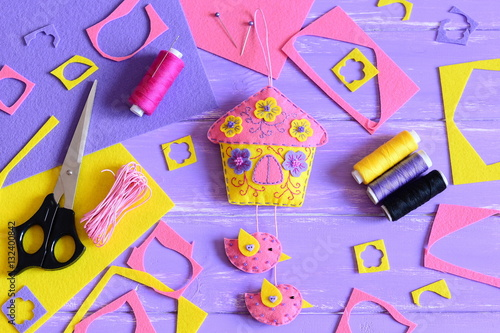 Easy Wall Decoration Make Of Felt Handcraft Supplies On A Wooden