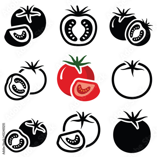 Tomato vegetable icon collection - vector outline and silhouette Wallpaper Mural
