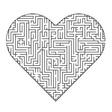 Complex Maze Puzzle Game (high Level Of Difficulty). Heart As A Labyrinth. Puzzle For St. Valentine Day (14 February)