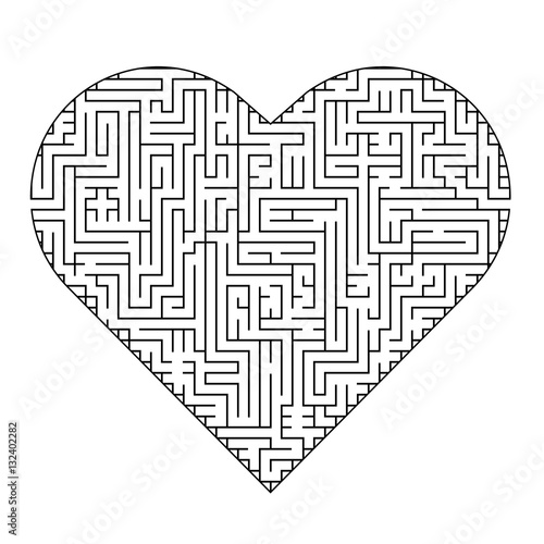 Complex maze puzzle game (high level of difficulty). Heart ...