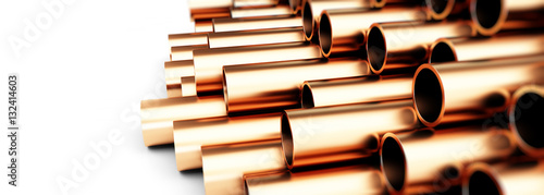 Valokuvatapetti copper metal pipe 3d Illustrations