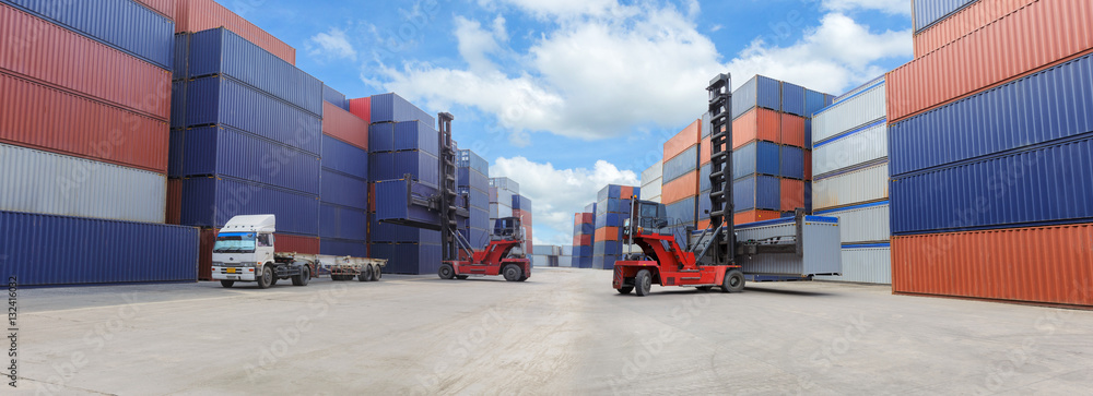 Fototapeta Industrial Container Cargo freight ship for Logistic Import Export business