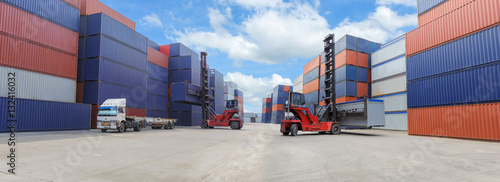 Industrial Container Cargo freight ship for Logistic Import Export business Wallpaper Mural