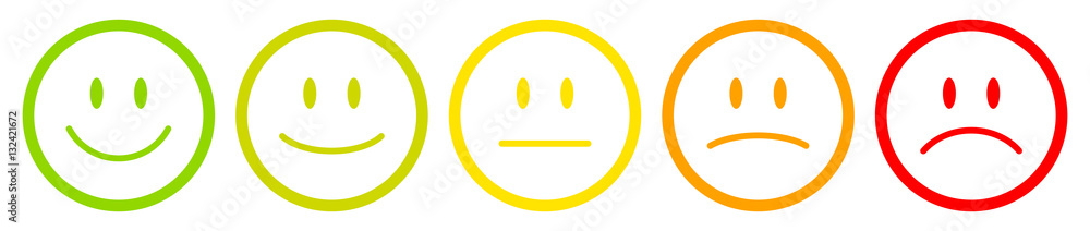 Fototapeta 5 Color Faces Outline Feedback/Mood
