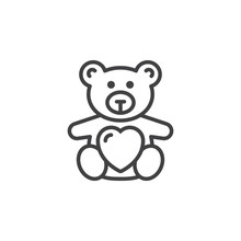 Teddy Bear Soft Toy With Heart  Line Icon, Outline Vector Sign, Linear Pictogram Isolated On White. Symbol, Logo Illustration