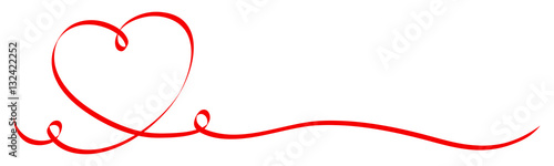 Calligraphy Red Heart Ribbon Wallpaper Mural