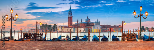 Venice Panorama. Panoramic image of Venice, Italy during sunrise. - 132426200