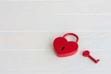 Heart Shaped Red Padlock With Key