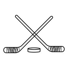 Hockey Sticks With Puck Icon, Outline Style