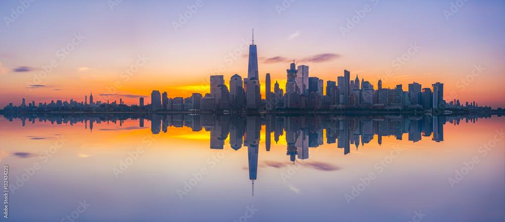 Fototapety, obrazy: New York City Skyline Reflections panorama