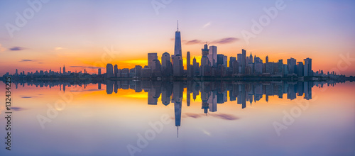 New York City Skyline Reflections panorama