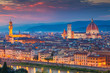 canvas print picture - Florence. Cityscape image of Florence, Italy during dramatic sunset.