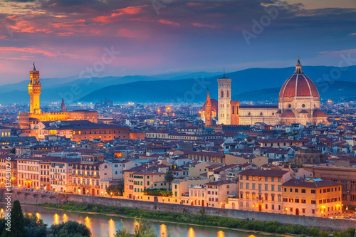 Photo Stands Florence Florence. Cityscape image of Florence, Italy during dramatic sunset.