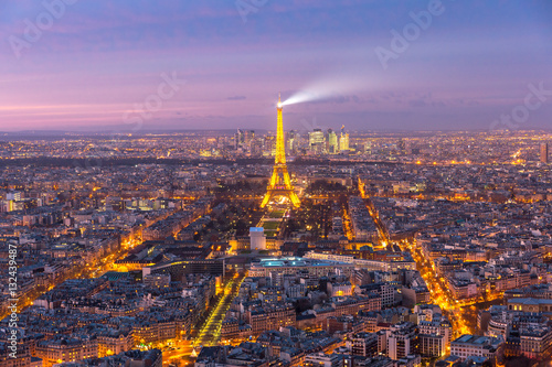 Stickers pour porte Tour Eiffel Night aerial panoramic of Paris skyline, France