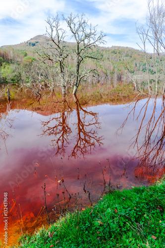 Foto op Plexiglas Crimson Water pollution of cooper mine