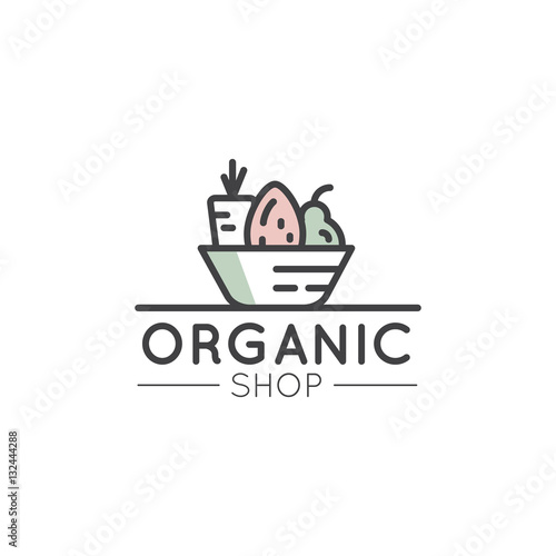 Vector Simple Icon Style Illustration Logo for Organic Shop or