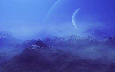 Foggy Alien Planet - 3D Rendered Computer Artwork