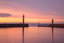 Whitby Harbour Just After Sunset