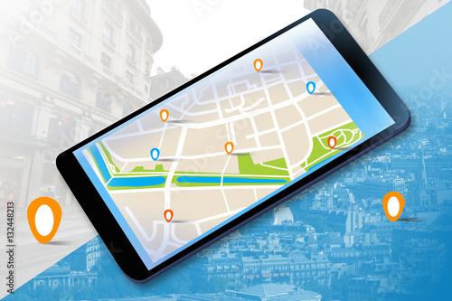 Fotografia  Mobilna nawigacja GPS na tablecie.