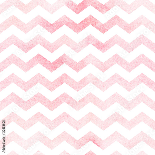 Photo Seamless watercolor chevron pattern in red. Seamless pattern.