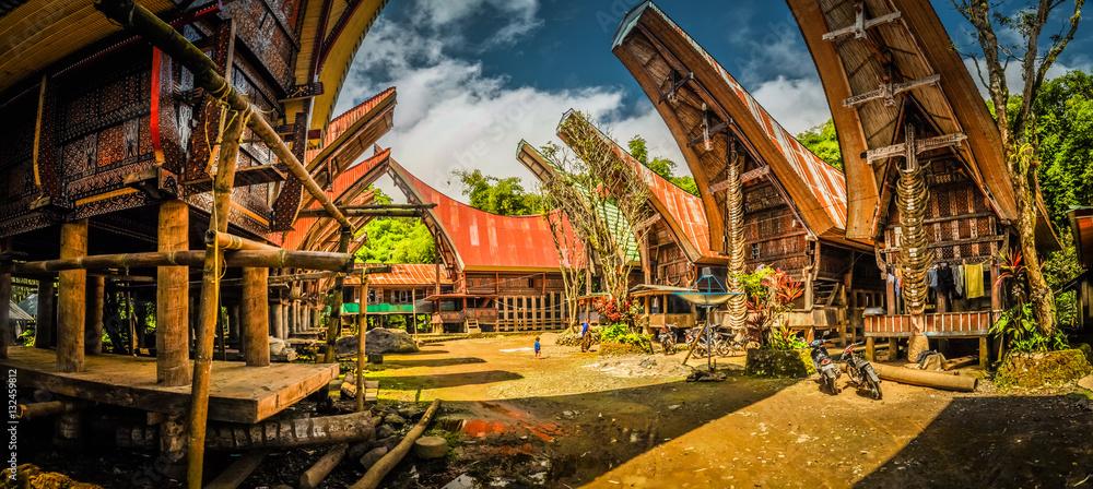 Fototapeta Village with ancestral houses