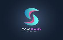Blue Pink Alphabet Letter S Logo Icon Design