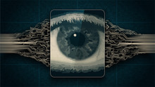 Big Brother Electronic Eye Concept, Technologies For The Global Surveillance, Biometric Retina Scan, Security Of Computer Systems And Networks