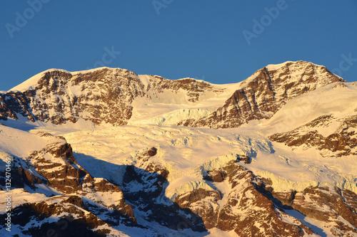Fotografia, Obraz  Lyskamm Occidentale e Orientale (Monte Rosa) al tramonto