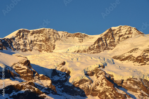 Valokuva  Lyskamm Occidentale e Orientale (Monte Rosa) al tramonto
