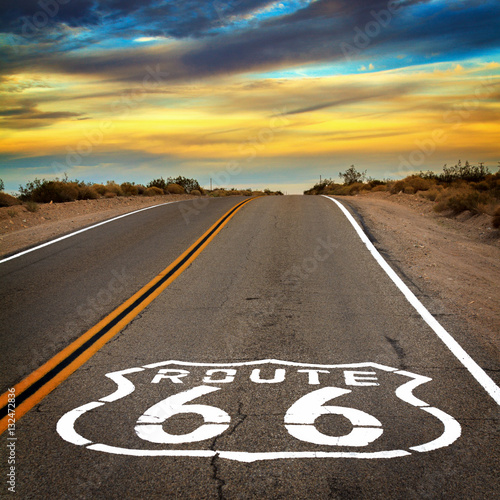 Aluminium Prints Route 66 Route 66 sign on the floor of the road.