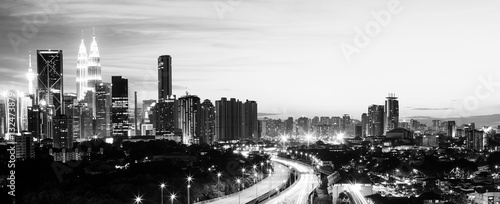 Deurstickers Kuala Lumpur Abstract scenery of the Kuala Lumpur city at sunset , Black and White.