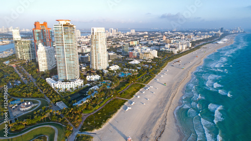 Plakat South Beach Miami na Florydzie Skyline z lotu ptaka