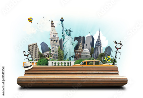 Foto op Plexiglas New York TAXI USA, classic yellow New York taxi and landmarks