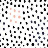 Black and white hand drawn dots seamless pattern. Animal skin style. Pink and gray color - 132491824
