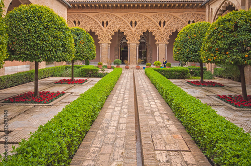 Gardens of the aljaferia alcazar of Zaragoza Spain