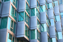 Modern Building Facade With Window Sections Of Aluminum, Being Tilted, Getting An Bay Window Feeling, In An Apartment Building In New York City
