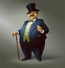 Fat Man With Top Hat. Boss.