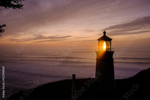 Keuken foto achterwand Vuurtoren Heceta Head Lighthouse at sunset, built in 1892