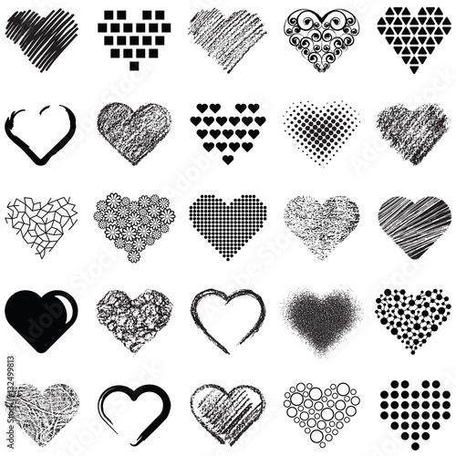 Hearts icon collection - vector illustration  Wall mural