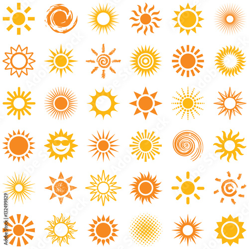 fototapeta na ścianę Sun icon collection - vector illustration