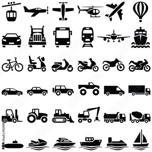 Fotografiet  Transport icon collection - vector silhouette
