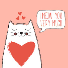 Cute Cat With Heart And Speech...
