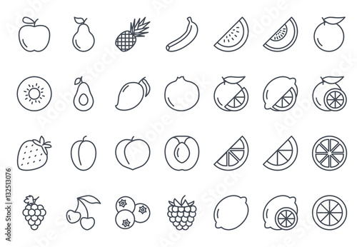 Poster Cuisine Fruits Icon Outlined
